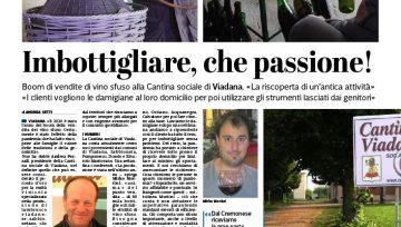 La Provincia di Cremona ha dedicato due pagine al vino sfuso e a l'imbottigliamento